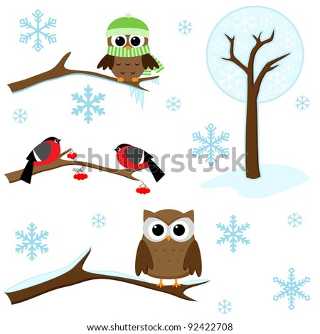 Winter set -  birds on branches, tree and snowflakes. Raster version.