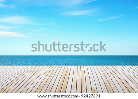 Beautiful sky and ocean with wooden berth #92427691