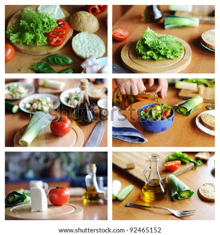 An image of a set of photos with healthy food on them #92465152
