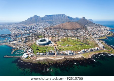 overall aerial view of Cape Town, South Africa Royalty-Free Stock Photo #92510755