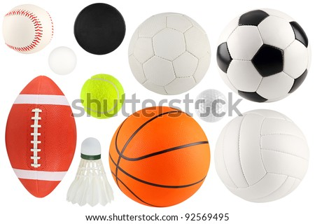 a set of different sport equipment and balls Royalty-Free Stock Photo #92569495