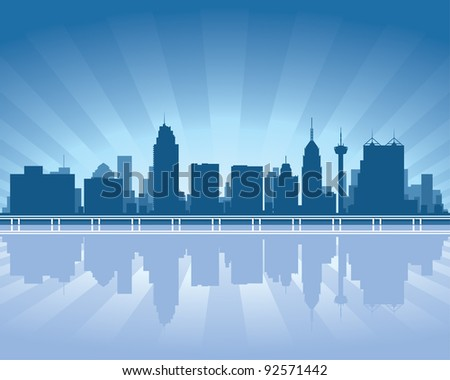San Antonio skyline with reflection in water