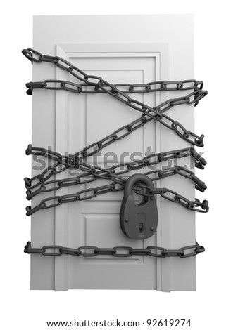 The door closed is wound by a chain with the lock #92619274