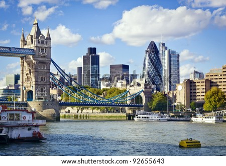 Financial District of London and the Tower Bridge Royalty-Free Stock Photo #92655643