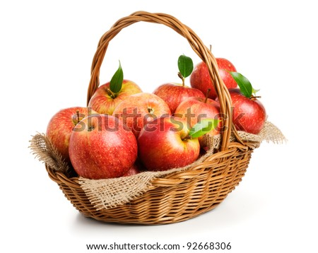Jonagold apples in a basket on white background #92668306