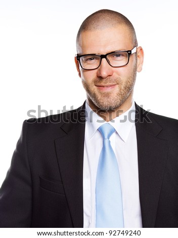 Image of handsome CEO with glasses, isolated on white #92749240