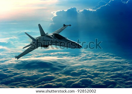 View of a fighter jet above the clouds Royalty-Free Stock Photo #92852002