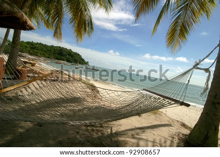 Empty hammock between palm trees on tropical beach in shade. #92908657
