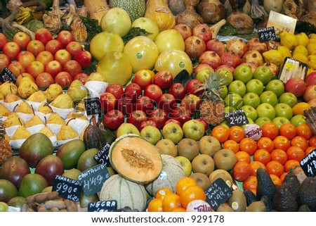 several tropical fruit in the market #929178
