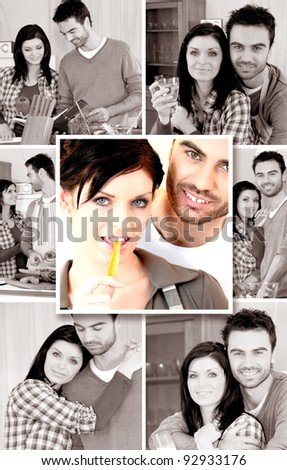 Mosaic of young couple at home #92933176