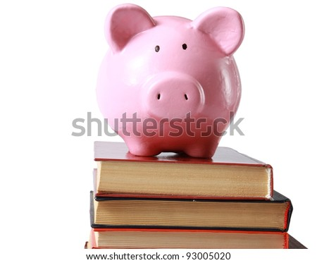 Piggy bank and book in isolated white background #93005020