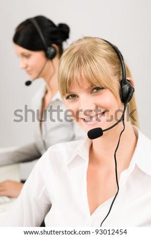Customer service team woman call center smiling operator phone headset #93012454