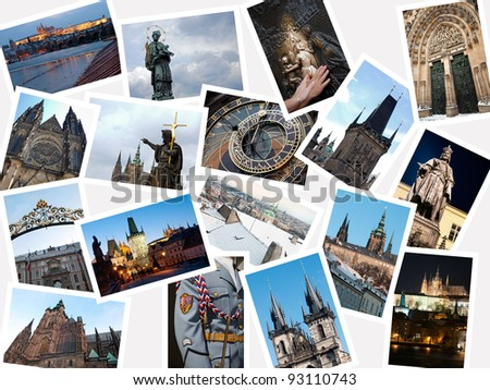 Stack of pictures with attractions and landmarks of Prague, Czech republic #93110743