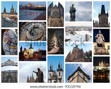 Collage of photos from Prague, Czech Republic.