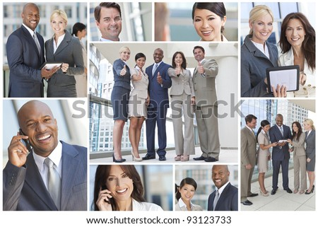 Montage of interracial group of business men and women, businessmen and businesswomen team #93123733