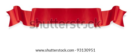 Elegance red ribbon banner with shadow Royalty-Free Stock Photo #93130951