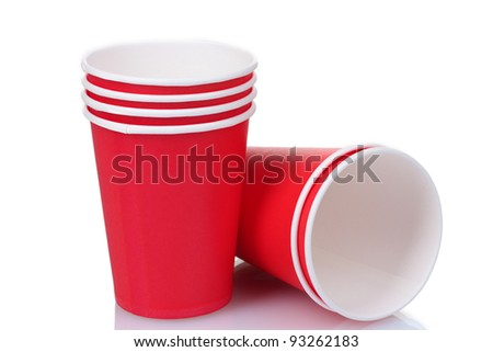 red plastic cups isolated on white #93262183