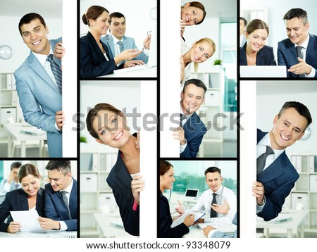 Collage of friendly professionals planning work and peeking out of poster #93348079