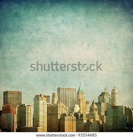 grunge image of new york skyline #93354685