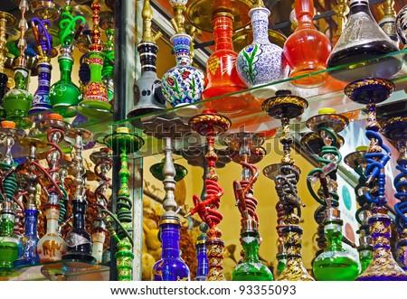 Hookah in souvenir shop at Istanbul Turkey Royalty-Free Stock Photo #93355093