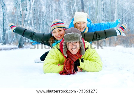 Happy Family Outdoors. Snow.Winter Vacations