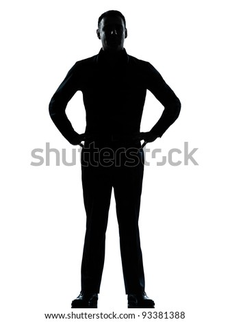one caucasian business man silhouette standing hands on hips Full length in studio isolated on white background #93381388