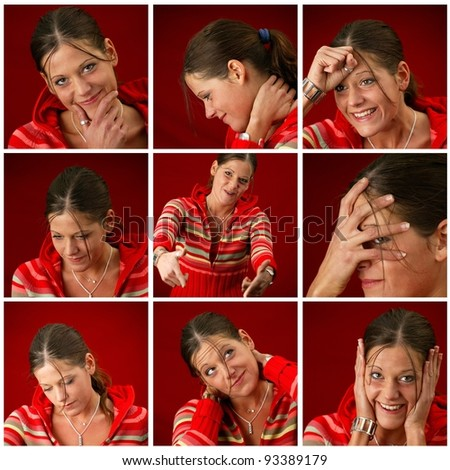 Collage of a young woman making faces #93389179