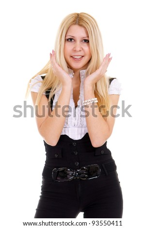 portrait of a cute blonde on white #93550411