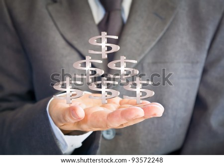 Business man showing dollars sign #93572248