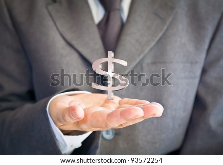 Business man showing dollar sign #93572254