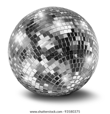 Silver disco mirror ball isolated on white background Royalty-Free Stock Photo #93580375