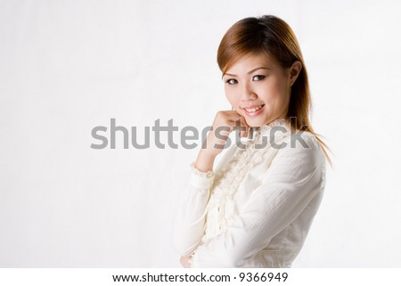 young beautiful business woman smiling confidently #9366949
