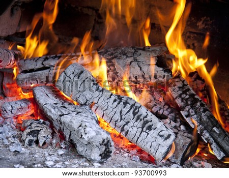 Picture of burning wood in fireplace