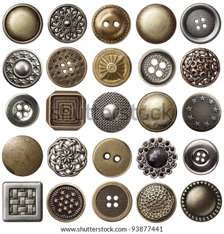 Vintage metal sewing buttons collection Royalty-Free Stock Photo #93877441