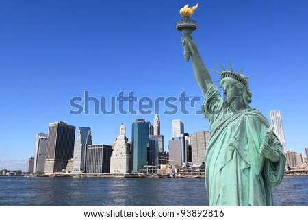 Manhattan Skyline and The Statue of Liberty on a Clear Blue Sky from Brooklyn, New York City #93892816