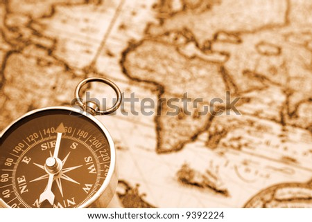 compass on the old map #9392224
