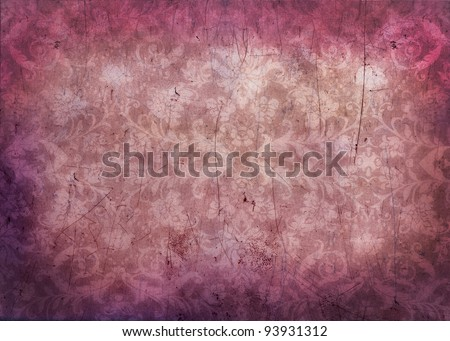 Antique grungy damask background texture in pink and magenta