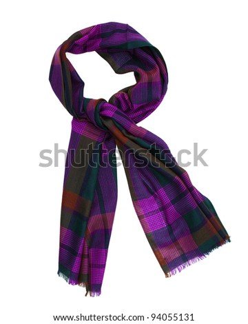 Colorful Wool Purple / Pink / Green Plaid Scarf with trim isolated on white #94055131