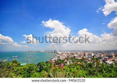 Landscape from viewpoint of Pattaya city in Chonburi, Thailand. Pattaya is a popular place for tourists both Thais and foreigners. #94063120