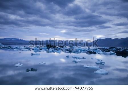 Landscape scenery with a ice, Jokulsarlon, Iceland #94077955
