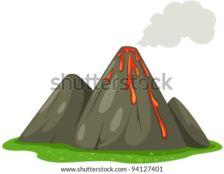 illustration of isolated volcano on white background
