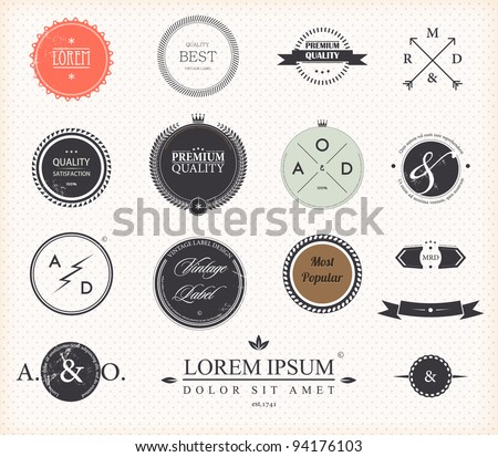 Set of Premium Quality and Guarantee Labels with retro vintage styled design, vector