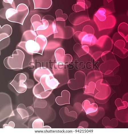 Pink Bokeh Hearts Background Wallpaper