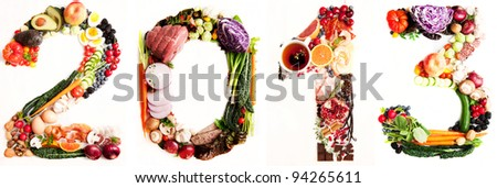 Assortment of Fresh Vegetables and Meats Arranged in 2013 #94265611