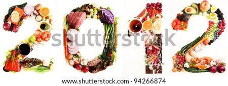 Year 2012 Made of Fresh Vegetables, Meats, and Other Healthy Real Food #94266874