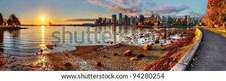 Vancouver downtime sunrise panorama #94280254