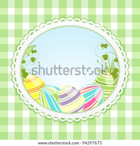 Easter eggs in a white border on a green gingham background