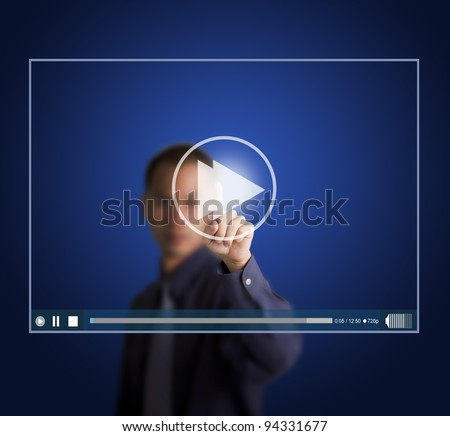 business man push fast forward button on touch screen to speed up video clip
