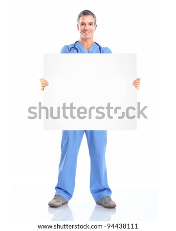 Professional medical doctor with banner. Isolated over white background. #94438111