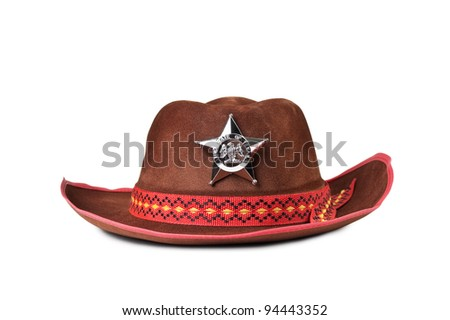 cowboy hat with the star sheriffs isolated on white background #94443352